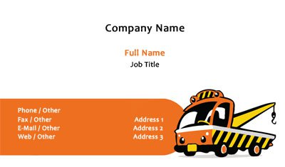Orange Tow Truck Business Card Template